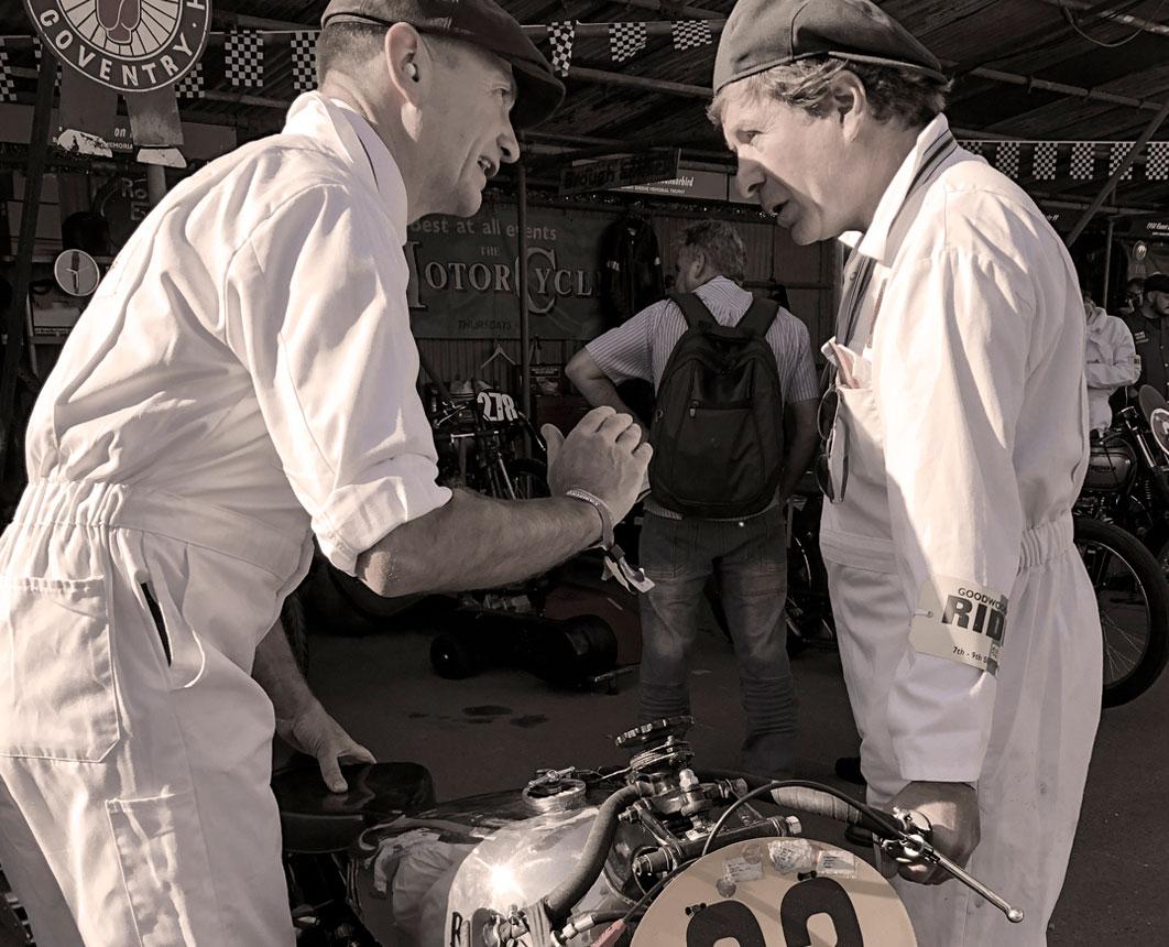 Tony Perkin and Fernando Mendes, GP Originals riders at the Goodwood Revival