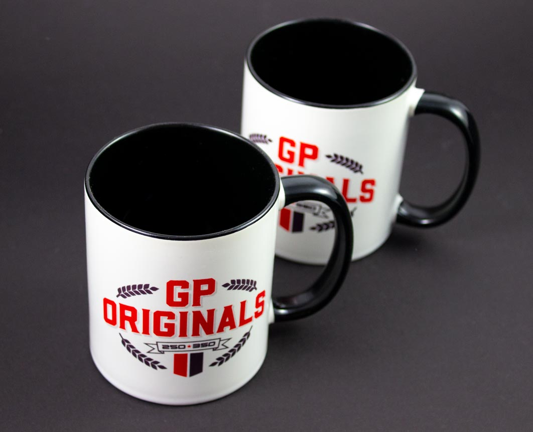 GP Originals mugs for your hospitality and race weekend