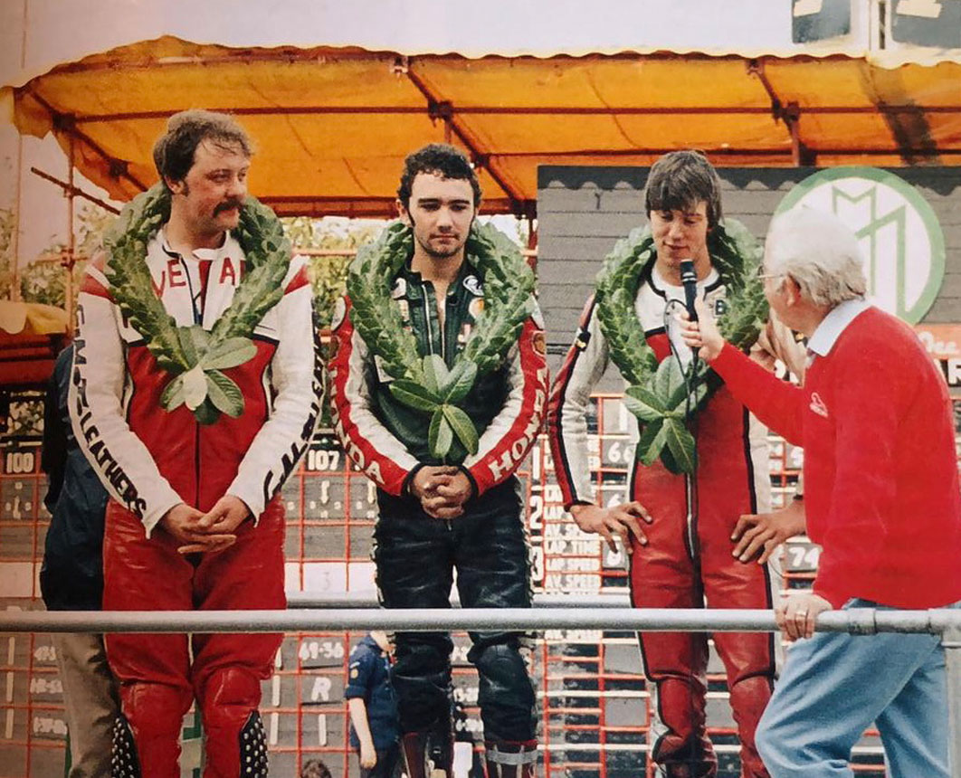 Winner of the Manx GP Newcomers race in 1983