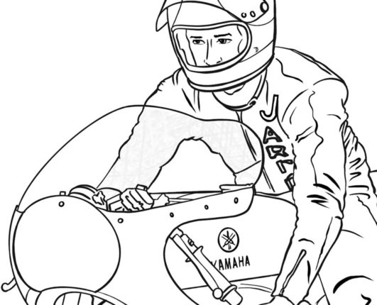 Colouring in motorbikes with GP Originals classic racing series
